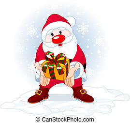 Cute Santa Claus giving a gift on snowing background