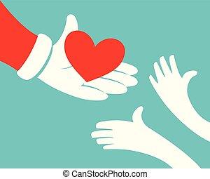 Santa Giving Heart