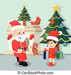 santa giving teddy bear to girl