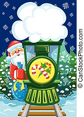 Santa goes by christmas train - Santa goes by train with...