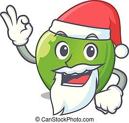 Santa green smith apple isolated on cartoon