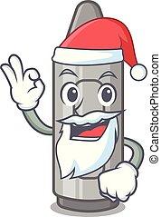 Santa grey crayon in a bag cartoon
