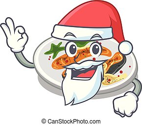 Santa grilled salmon on a cartoon plate