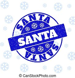 Santa Grunge Round Stamp Seal for New Year
