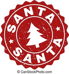SANTA Grunge Stamp Seal with Fir-Tree