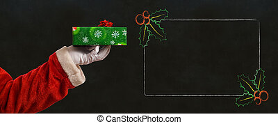 Santa hand and present and list notes