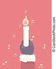 Santa Hand Carols By Candle Lights Illustration