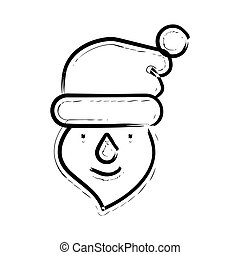 Santa hand drawn icon