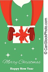 Santa Hands Holding a Present Top View with Seasonal Greeting