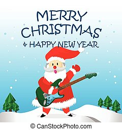 Santa Happy Electric Guitar and Merry Christmas Cartoon