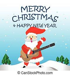 Santa Happy  Guitar and Merry Christmas Cartoon