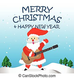 Santa Happy  Guitar and Merry Christmas Cartoon