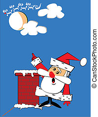santa has a problem - Santa on top of roof pointing to...