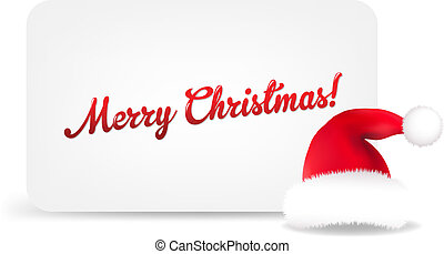 Santa Hat And Blank Gift Tag, Isolated On White Background, ...
