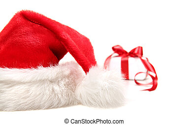 Santa hat and gift with red bow