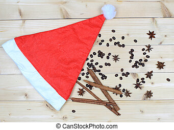 santa hat and rustic decorate on wood