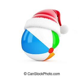 Santa hat Beach ball on a white background 3D illustration, 3D rendering