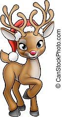 Santa Hat Cartoon Christmas Reindeer