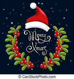 Santa hat Christmas poster