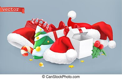 Santa hat, christmas tree and gifts. 3d vector icon