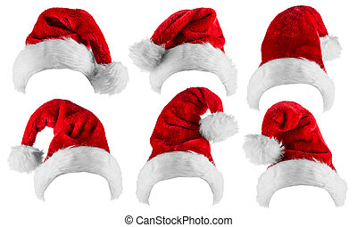 Santa hat collection - set of santa hats isolated on white ...