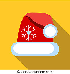 Santa hat icon, flat style