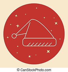 Santa hat icon in thin line style.