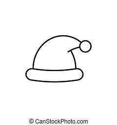 47616d9416dc1 Vector santa hat icon. thin line icon. Vector santa hat icon ...