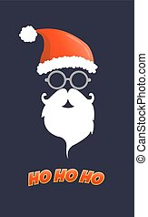 Santa hat, moustache and beard.