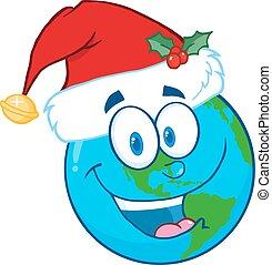 Santa Hat On A Earth Character