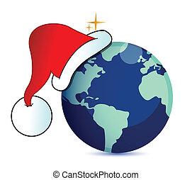 Santa hat on a globe illustration