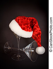 Santa Hat on Martini Glas - Santa hat and martini glasses on...