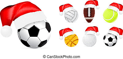 Santa hat on sport balls