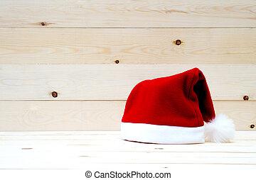 Santa Hat on table wood