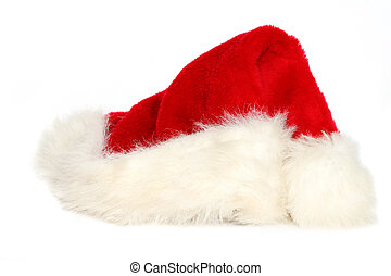 Santa Hat - Red and white santa hat on white background