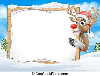 Santa Hat Reindeer Christmas Scene Sign Background