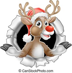 Santa Hat Reindeer Tearing Through Background