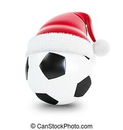 santa hat soccer ball