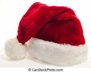 Santa Hat v2 - Red and white santa hat shot on white.