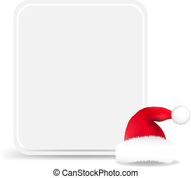 Santa Hat With Blank Gift Tag, Isolated On White Background...