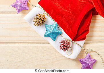 Santa Hat with Christmas decorations.