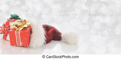 Santa Hat with presents and Merry Christmas Type