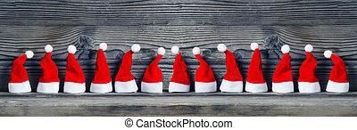 Santa hats, banner
