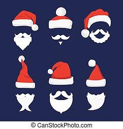 Santa hats, moustache and beards.
