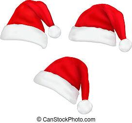 santa, hats., vector., três, vermelho