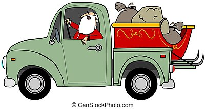 Santa hauling his sleigh - This illustration depicts Santa...