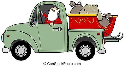 Santa hauling his sleigh - This illustration depicts Santa...