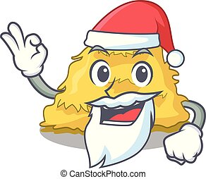 Santa hay bale mascot cartoon vector illustration