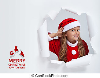 Santa hears your christmas wishes - little girl...