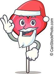 Santa heart lollipop mascot cartoon vector illustration